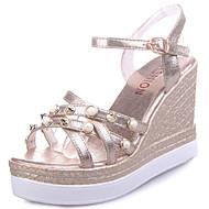 Mulheres Sapatos Couro Ecológico Primavera Verão Sapatos clube Sandálias Salto Plataforma Dedo Aberto Pedrarias Pérolas Sintéticas