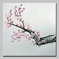 billiga Blom-/växtmålningar-HANDMÅLAD Blommig/Botanisk Fyrkantig, Traditionell Realism Duk Hang målad oljemålning Hem-dekoration En panel