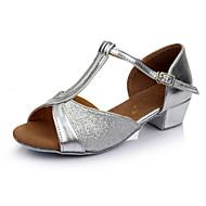 בגדי ריקוד נשים נעליים לטיניות Paillette עקבים עקב נמוך מותאם אישית נעלי ריקוד זהב / כסף / בבית