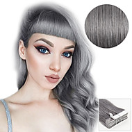 20PCS Tape In Hair Extensions Silver Grey 40g 16Inch 20Inch 100% Human Hair For Women