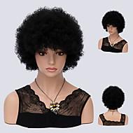 Perruque Synthétique Bouclé Noir Noir Cheveux Synthétiques Femme Ligne de Cheveux Naturelle / Perruque afro-américaine Noir Perruque Court Sans bonnet