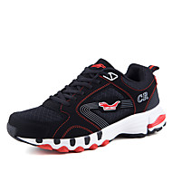 Men's Athletic Shoes Light Soles Tulle Spring Summer Athletic Casual Outdoor Running Light Soles Lace-up Flat HeelGray Black/Red Light