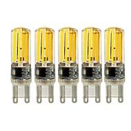billige Bi-pin lamper med LED-5pcs 4W 450lm E14 G9 G4 LED-lamper med G-sokkel T 4 LED perler COB Mulighet for demping Varm hvit Hvit 220-240V
