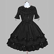 Χαμηλού Κόστους Steampunk®-Πριγκίπισσα Γοτθική Λολίτα Ένα Τεμάχιο Ντύσιμο φόρεμα Γυναικεία Κοριτσίστικα Cosplay Μαύρο Σκουφί Κοντομάνικο Μέχρι το γόνατο Κοστούμια Halloween