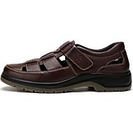 Masculino Sandálias Pele Verão Caminhada Velcro Rasteiro Preto Marron Menos de 2,5cm