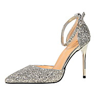 Women's Heels Comfort Paillette Spring Fall Dress Comfort Buckle Stiletto Heel Champagne Blue Ruby Rainbow Silver 3in-3 3/4in