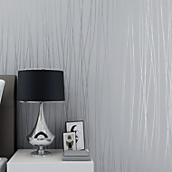 3D Stripe Wallpaper For Home Contemporary Wall Covering , Non-woven paper Material Self adhesive Wallpaper , Room Wallcovering