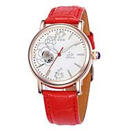 女性用 ファッションウォッチ 機械式時計 クォーツ レザー バンド 白 レッド パープル