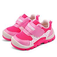 Genç Kız Atletik Ayakkabılar Bahar Sonbahar Kişiselleştirilmiş Malzemeler Kumaş Yürüyüş Sihirli Bant Alçak Topuk Mavi Pembe Düz