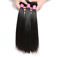 Włosy naturalne Włosy brazylijskie Człowieka splotów włosów Proste Przedłużanie włosów 3 elementy Czarny