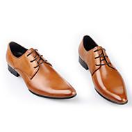 """גברים נעליים ללא שרוכים נוחות עור אביב סתיו יומיומי עקב נמוך שחור חום בורדו ס""""מ 2.54 - ס""""מ 4.45"""