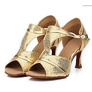 Kan ikke spesialtilpasses Dame Latin Salsa Ballett Glimtende Glitter Sandaler Spenne Glimtende Glitter Kubansk hæl Svart Sølv Blå Gull7,9