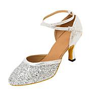 billige Kustomiserte dansesko-Dame Moderne sko Sandaler / Høye hæler Gummi / Spenne Kustomisert hæl Kan spesialtilpasses Dansesko Gull / Sølv / Profesjonell
