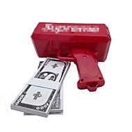 Arma de dinheiro, faça chover! Bateria 9v, dinheiro jogado, cor vermelha