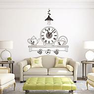 モダンスタイルのDIY漫画のティーセットミュートの壁時計の壁時計の装飾