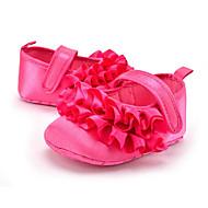 ילדים תינוק נעליים ללא שרוכים צעדים ראשונים סטן קיץ סתיו קזו'אל שמלה מסיבה וערב צעדים ראשונים קפלים עקב שטוח שחור אפרסק שטוח