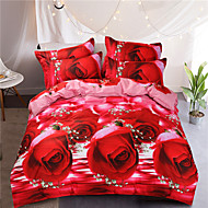 red rose style printed flowers queen size 100%cotton bedding sets 4pcs bed sheet pillowcase duvet cover set