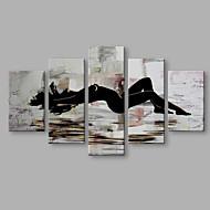 5 paneler svart og hvitt kvinneskjertel håndmalt kunst for moderne veggdekorasjon