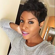 Vrouw Human Hair Capless Pruiken medium Auburn Zwart Kort Natuurlijk golvend Pixie-kapsel Met pony Afro-Amerikaanse pruik