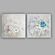 Hand-Painted Abstract / Floral/Botanical Modern / Classic Two Panel Canvas Oil Painting