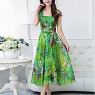Mujer Tallas Grandes Noche Boho Gasa Corte Swing Vestido - Estampado, Floral Maxi Escote Cuadrado
