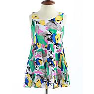 Χαμηλού Κόστους -0.1-Κορίτσια Φόρεμα Βαμβάκι Δικτυωτό Καλοκαίρι Αμάνικο Λουλουδάτο Πράσινο του τριφυλλιού