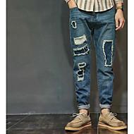 男性用 ストリートファッション ルーズ ジーンズ パンツ ソリッド