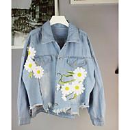 Camisola feminina de jeans feminina com mangas compridas. bordado. solto. Jaqueta jeans