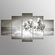 billiga Väggkonst-Stretchad Kanvastryck Fem paneler Horisontell Tryck väggdekor Hem-dekoration