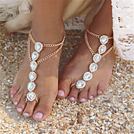 Women's Pearl Barefoot Sandals Imitation Pearl Drop Ladies Fashion Anklet Jewelry Gold / Silver For Daily Casual / Rhinestone