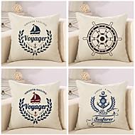 4つ 個 コットン/リネン 枕カバー,航海 ファッション ノベルティ柄 クラシック ユーロ 新古典主義 レトロ風