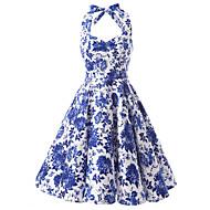 Žene Vintage Pamuk A kroj Haljina Cvjetni print Na vezanje oko vrata Do koljena Plava