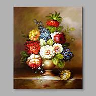 Håndmalte Blomstret/Botanisk Lodrett,Blomst Retro Rød Et Panel Lerret Hang malte oljemaleri For Hjem Dekor