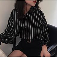 cheap Women's Tops-Women's Going out Street chic Shirt - Striped Color Block Shirt Collar