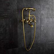 Художественный Старинный Ванна и душ Дождевая лейка Настенное крепление Два отверстия for  Золотой , Смеситель для ванны