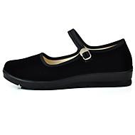 baratos Sapatilhas Femininas-Mulheres Sapatos Tecido Primavera/Outono Conforto Rasos Salto Plataforma Ponta Redonda Presilha para Casual Escritório e Carreira Preto