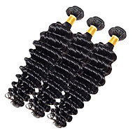 Full Head 300g/3pcs Deep Wave 10-20Inch Dark Black Human Hair Weaves