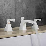 Moderne Art Deco/Retro Udspredt Regnbruser Udbredt Termostatisk with  Messing Ventil To Håndtag tre huller for  Krom , Håndvasken vandhane