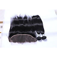 2Bundles 200g Natural Black Straight Brazilian Remy Hair Wefts with 1Pcs Free Part 13x4  Ear To Ear Lace Frontal Closures Human Hair Extensions/Weaves