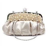 Women's Bags Silk Evening Bag Rhinestone / Beading Black / Red / Apricot