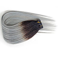 1B Silver Grey Tape In Human Hair Extensions Ombre Hair Extensions Straight 20pcs for Women Beauty