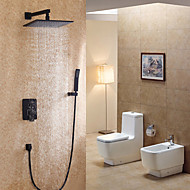 Antique Wall Mounted Rain Shower Ceramic Valve Single Handle Three Holes Oil-rubbed Bronze , Shower Faucet