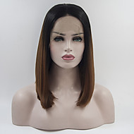 Naisten Synteettiset peruukit Lace Front Keskikokoinen Suora Black / Mansikka Blonde Liukuvärjätyt hiukset Afro-amerikkalainen peruukki