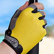 サイクルグローブ スポーツ フィンガーレス 高通気性 耐久性 保護 ブラック イエロー 布 サイクリング / バイク 男女兼用