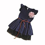 Menina de Vestido Poá Verão Algodão Sem Manga Pontos Azul Marinha