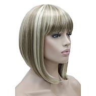 halpa -Naisten Synteettiset peruukit Suojuksettomat Lyhyt Suora Vaaleahiuksisuus Bob-leikkaus Otsatukalla Luonnollinen peruukki puku Peruukit