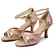 baratos Sapatilhas de Dança-Mulheres Sapatos de Dança Latina Glitter / Arrastão / Seda Salto Presilha Personalizável Sapatos de Dança Preto / Roxo / Amêndoa / Couro