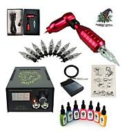 Zestawy startowe tatuaż 1 x rotacyjna maszyna tatuaż na podszewki i cieniowania LCD zasilanie 5 x tatuaż igły RL 3 Kompletny zestaw
