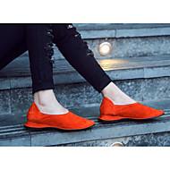 Damen Flache Schuhe Komfort Echtes Leder Frühling Normal Schwarz Rot Mandelfarben Flach