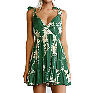 Women's Beach Going out Holiday Boho Skater Dress - Floral Ruched High Rise V Neck
